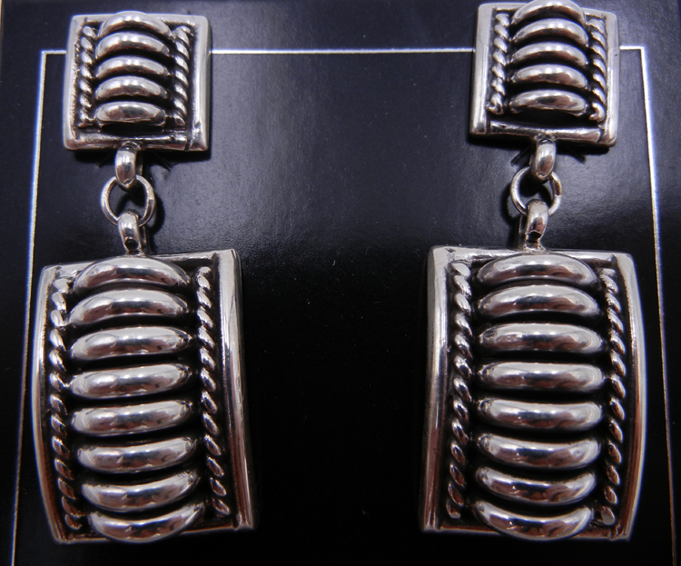 Navajo Thomas Charley Sterling Silver Domed Dangle Earrings