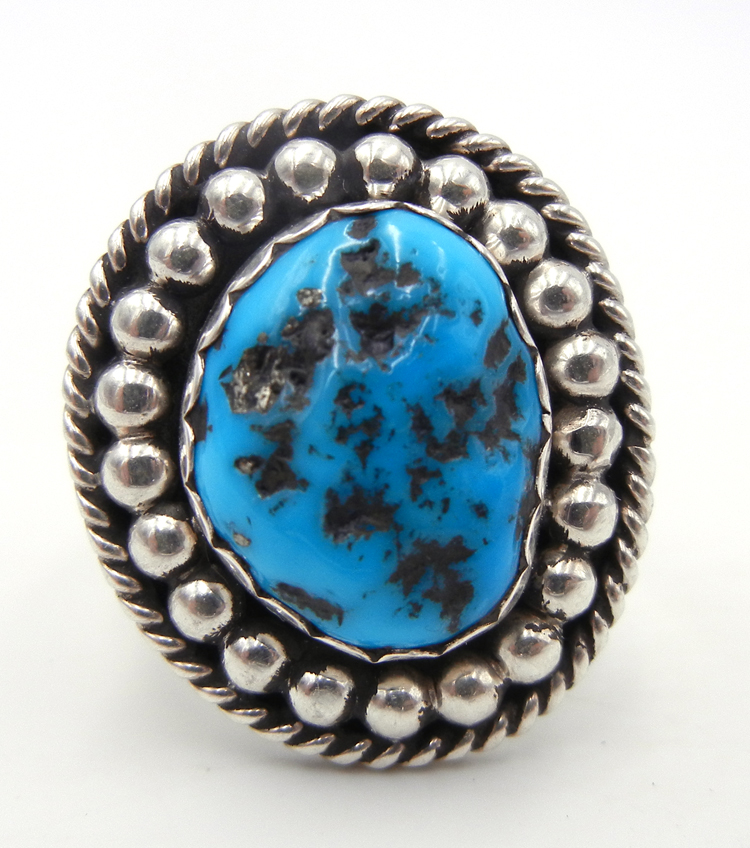 Navajo Sleeping Beauty Nugget and Sterling Silver Ring