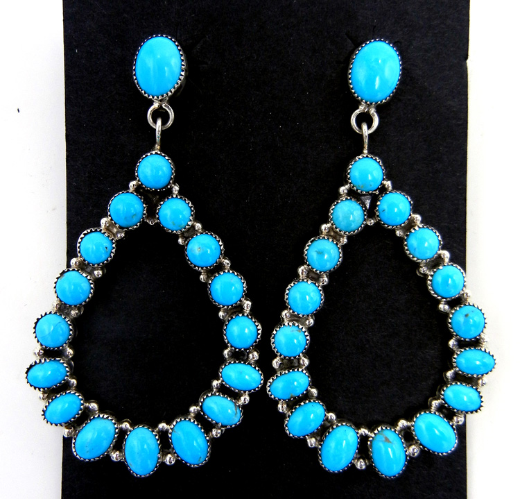 Navajo Sleeping Beauty Turquoise and Sterling Silver Tear Drop Earrings