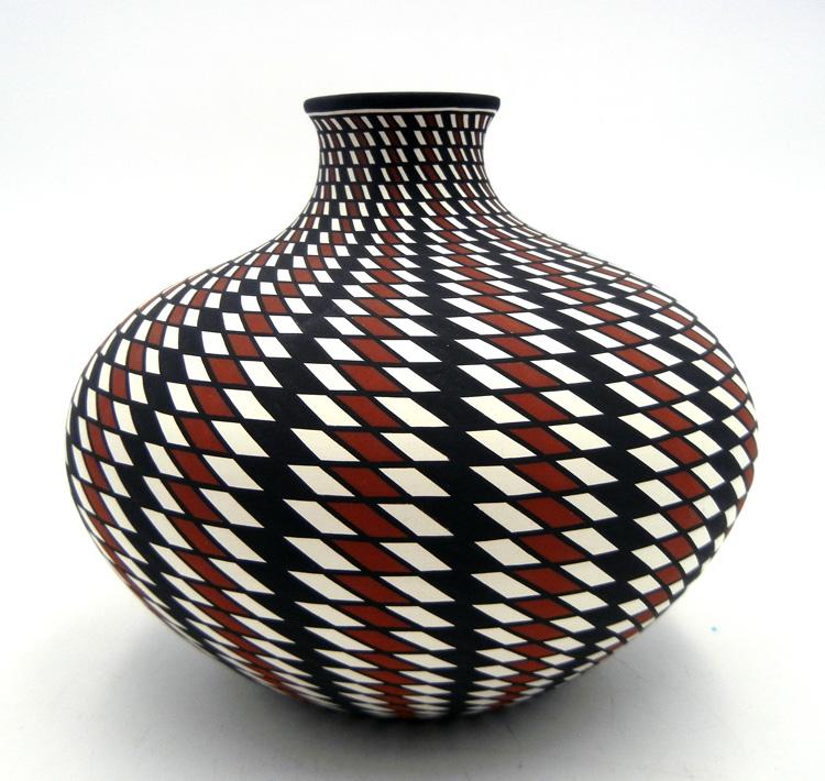 Acoma Paula Estevan Handmade and Hand Painted Polychrome Eyedazzler Vase