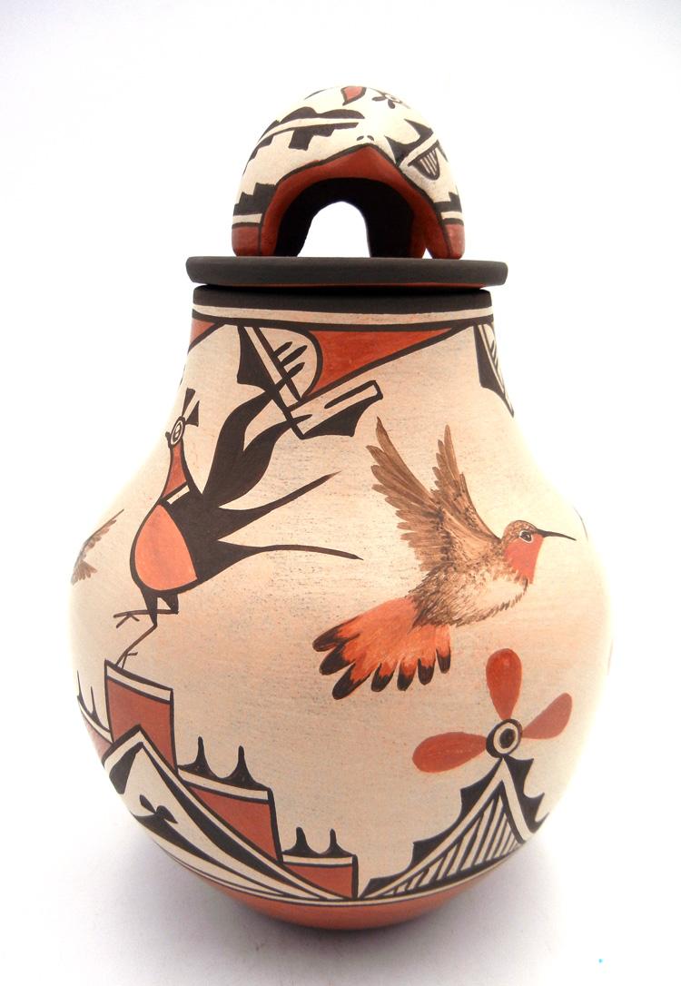 Zia Elizabeth and Marcellus Medina Lidded Jar with Bear and Bird Designs
