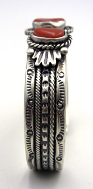Navajo Three Stone Coral and Sterling Silver Cuff Bracelet