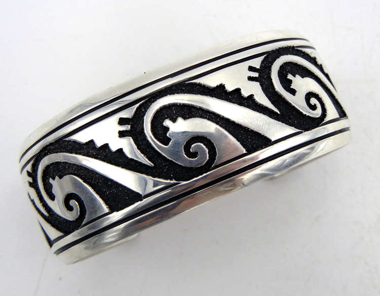 Navajo Rosita Singer Sterling Silver Overlay Wave And Whirlwind Cuff Bracelet