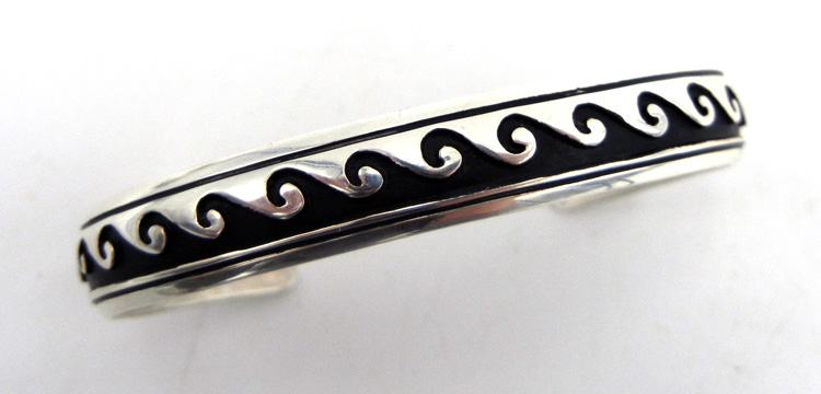 Navajo Rosita Singer Sterling Silver Overlay Wave Pattern Cuff Bracelet