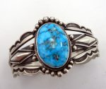 Navajo Kingman turquoise and sterling silver cuff bracelet by Aaron Toadlena