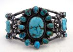 Navajo Tyler Brown Royston Turquoise and Sterling Silver Rosette Cuff Bracelet