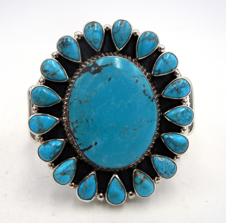 Navajo Kingman Turquoise and Sterling Silver Large Rosette Cuff Bracelet
