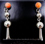 Navajo Sterling Silver and Orange Spiny Oyster Shell Squash Blossom Earrings