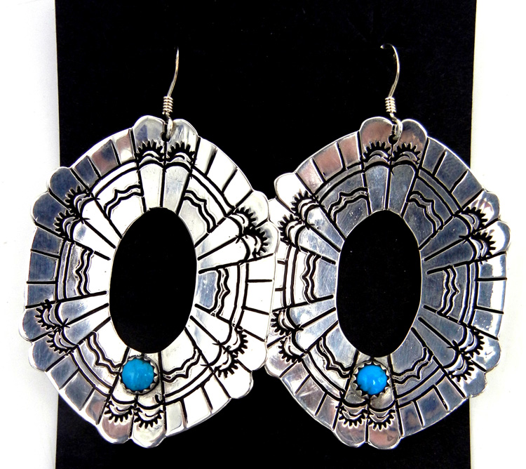 Navajo Rosita Singer Sterling Silver and Turquoise Cut Out and Stamped Dangle Earrings