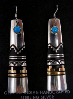 Navajo Rosita Singer Sterling Silver and Gold Fill Overlay and Turquoise Earrings