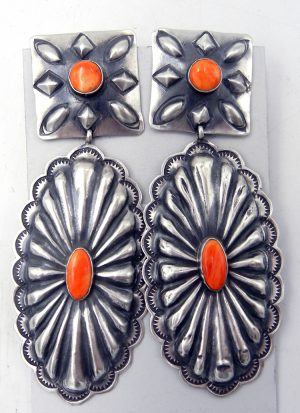 Navajo Rita Lee Brushed Sterling Silver and Orange Spiny Oyster Concho Style Dangle Earrings