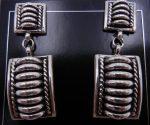 Navajo Thomas Charley Sterling Silver Domed Dangle Earrings