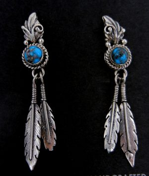 Navajo Sterling Silver and Turquoise Double Feather Earrings