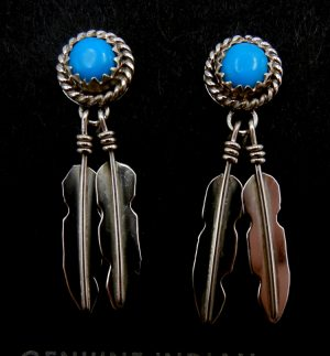 Navajo small turquoise and double sterling silver feather earrings