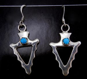 Navajo Sterling Silver and Turquoise Arrowhead Earrings