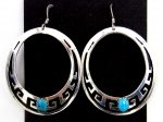Navajo Rosita Singer Sterling Silver Overlay and Turquoise Cut Out Dangle Earrings