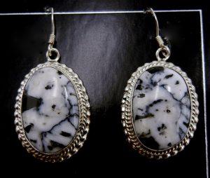 Navajo White Buffalo and sterling silver dangle earrings