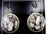 Navajo Wild Horse and Sterling Silver Dangle Earrings
