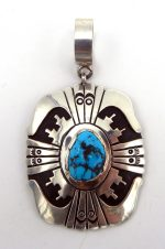 Navajo Rosita Singer Sterling Silver Overlay and Turquoise Pendant