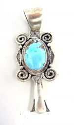 Navajo Golden Hill Turquoise and Sterling Silver Squash Blossom Pendant
