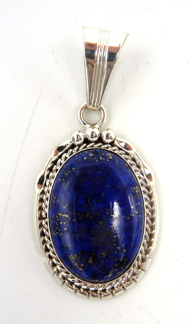 Navajo Lapis and Sterling Silver Pendant