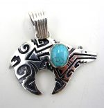 Navajo sterling silver overlay fetish bear pendant with turquoise