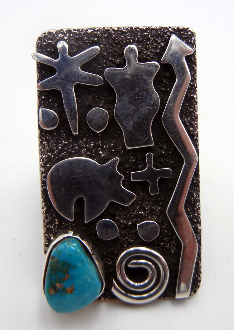 Navajo Alex Sanchez Sterling Silver and Turquoise Petroglyph Style Ring