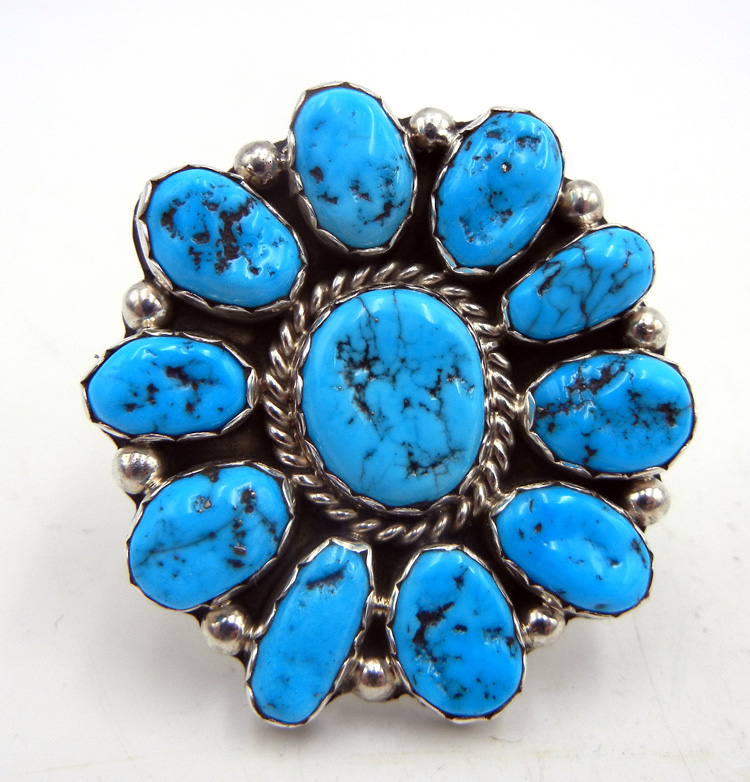 Navajo Pearlene Spencer Turquoise and Sterling Silver Large Rosette Ring