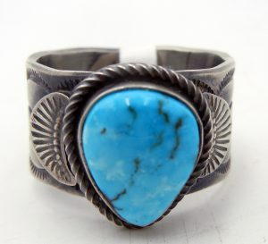 Navajo Kingman Turquoise and Brushed Sterling Silver Wide Band Ring