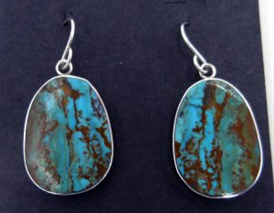 Santo Domingo Ronald Chavez Turquoise and Sterling Silver Slab Earrings