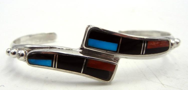 Zuni multi-stone inlay and sterling silver cuff bracelet