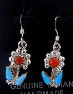 Zuni Small Turquoise, Coral, and Sterling Silver Flower Dangle Earrings