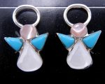Zuni Multi-Stone Inlay and Sterling Silver Angel Earrings