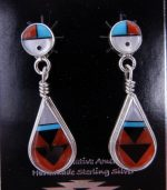 Zuni Multi-stone inlay and sterling silver sunface and tear drop earrings by Clifton Cheama