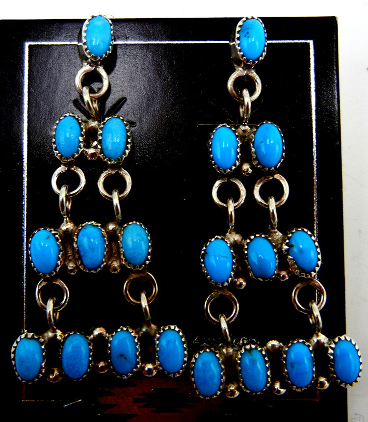Zuni Small Turquoise and Sterling Silver Chandelier Earrings