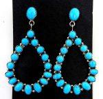 Navajo Sleeping Beauty Turquoise and Sterling Silver Tear Drop Earrings