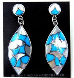 Zuni Turquiose, White Mother of Pearl and Sterling Silver Inlay Dangle Earrings