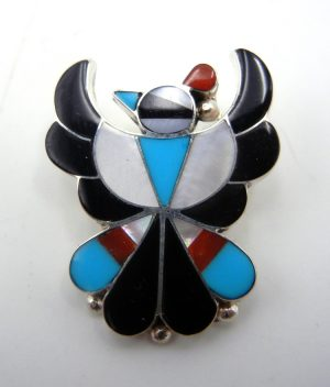 Zuni multi-stone inlay and sterling silver small thunderbird pendant