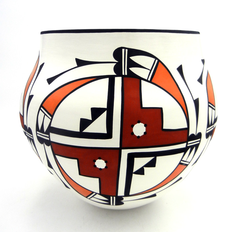 Acoma David Antonio Polychrome Geometric Eagle Pattern Olla