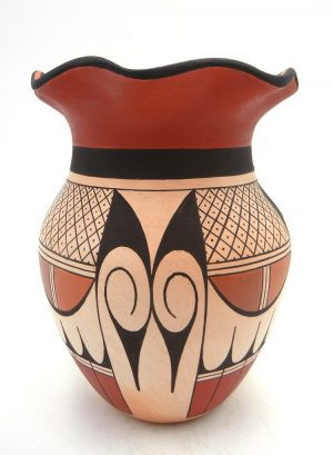 Hopi Stetson Setalla Handmade and Hand Painted Vase with Fluted Rim