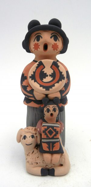 Jemez Chrislyn Fragua Standing Storyteller with One Child and Lamb