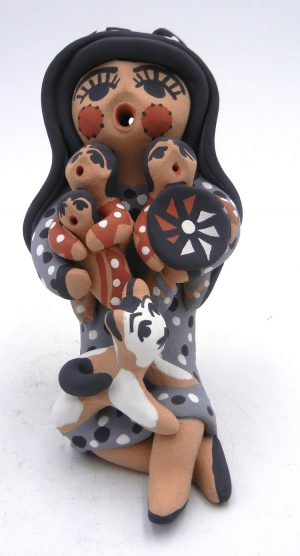 Jemez seated double-sided storyteller with three children and cat by Felicia Fragua
