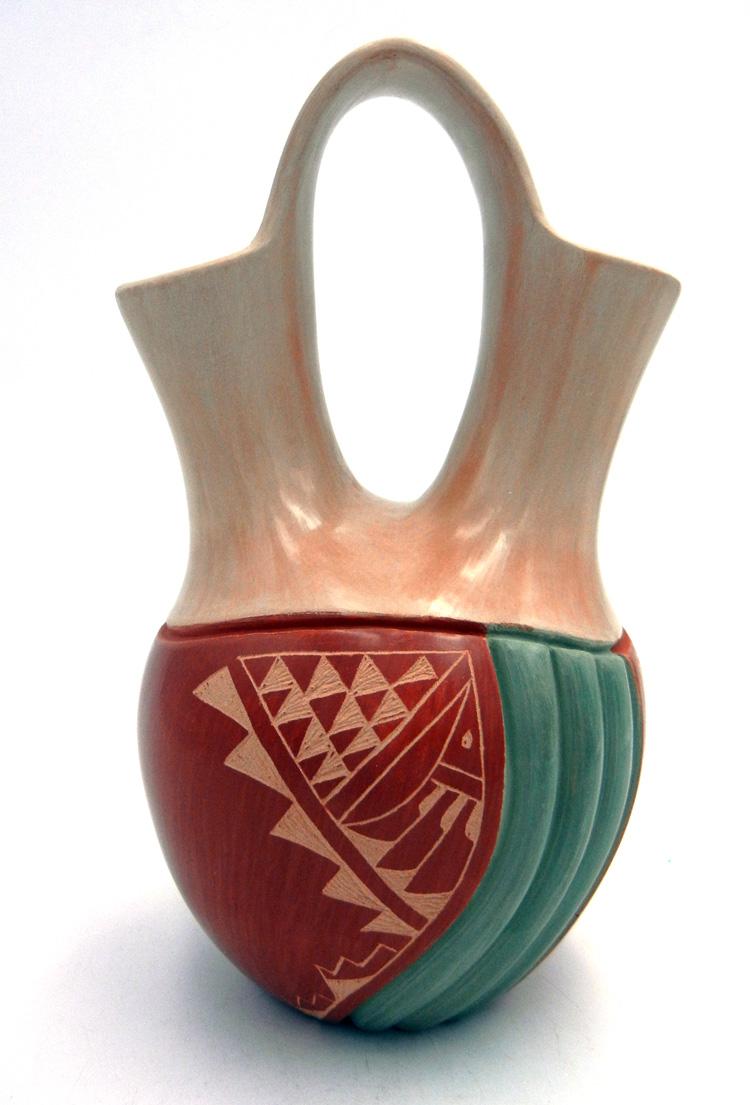 Jemez Emma Yepa Handmade Multi-Slip Polished and Etched Wedding Vase