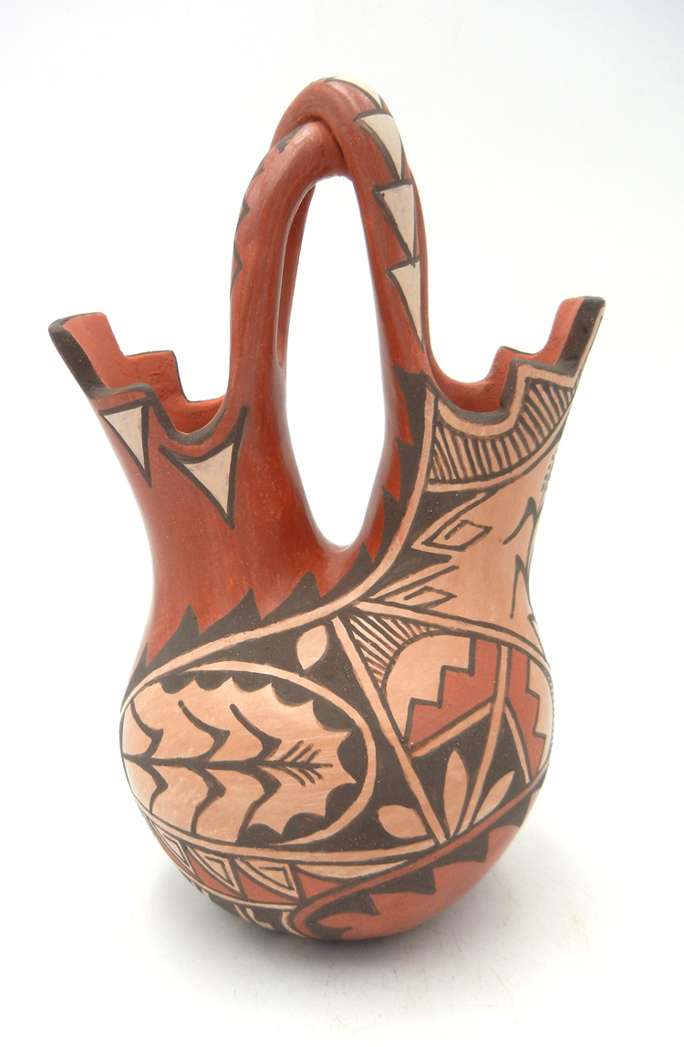 Jemez handmade and hand painted wedding vase with twisted handle by Juanita Fragua