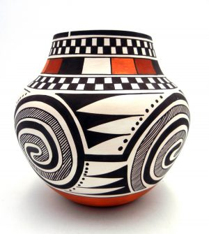 Laguna Myron Sarracino Tularosa Pattern Polychrome Checkered Jar