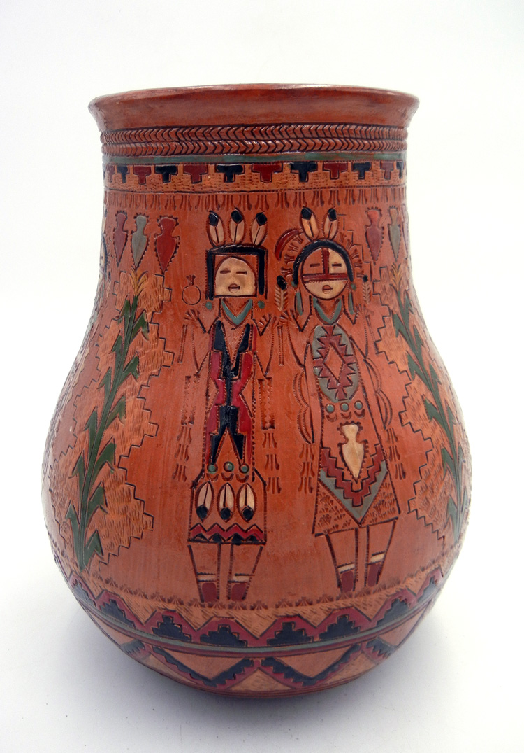 Navajo Kenneth and Irene White Large Handmade and Etched Pine PItch Jar