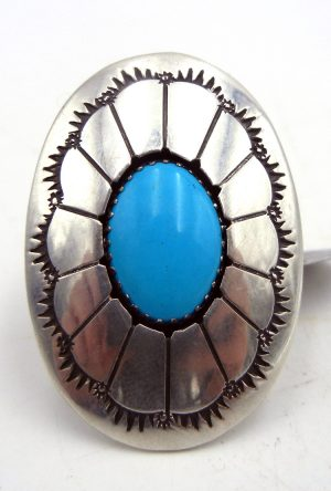 Navajo turquoise and sterling silver shadowbox style ring by Thomas Nez