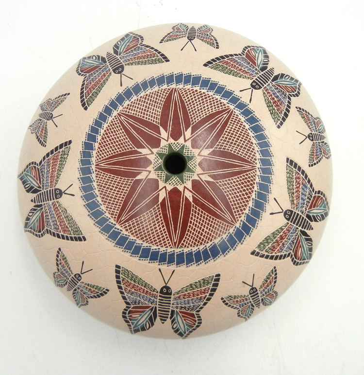 Mata Ortiz etched and painted large butterfly seed pot by Oscar Ramirez