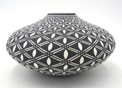 Acoma black and white handmade and hand painted seed pot by Paula Estevan