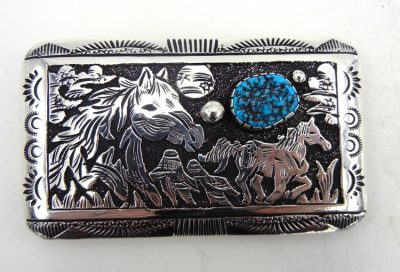 Navajo sterling silver overlay and turquoise horse belt buckle by Rosita Singer